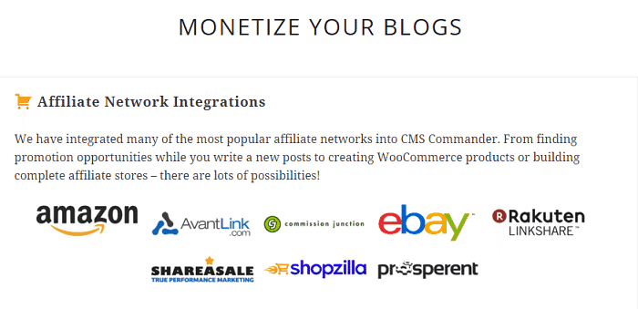 cms commander affiliate network integrations