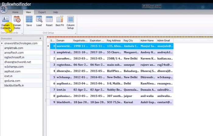 screenshot of bulk whois finder