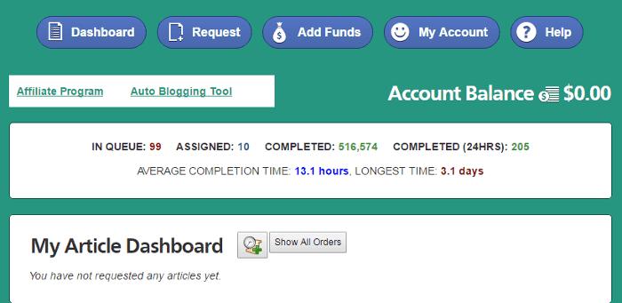 ineedarticles-member dashboard